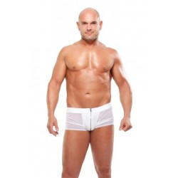 White Hot boxer semitransparente con cremallera